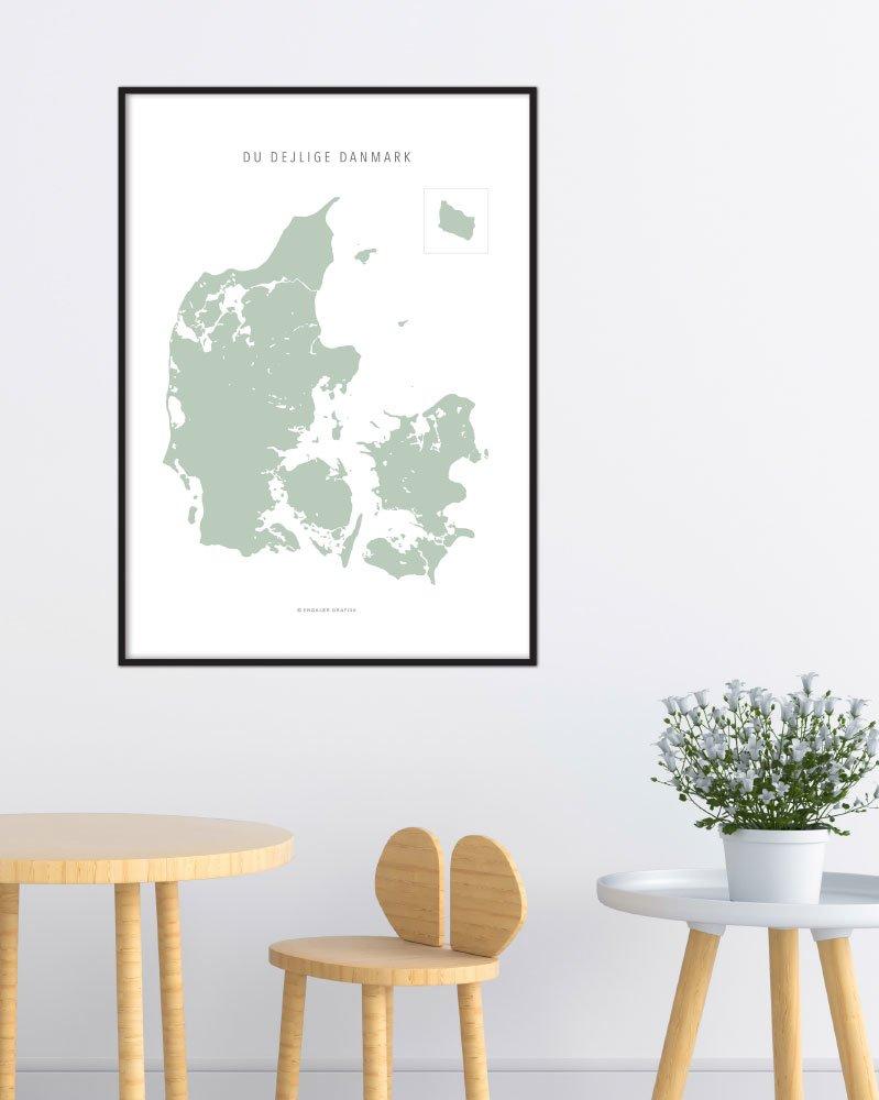 Image of   Danmarkskort - Pistachio